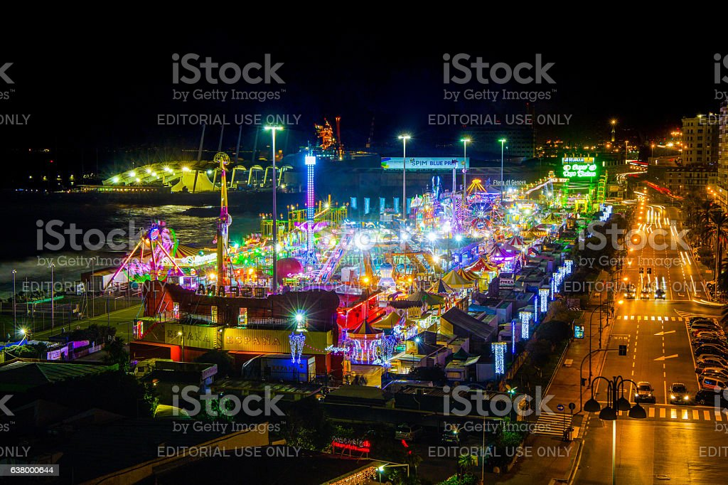 Full view of Luna Park of Genoa(Genova) by night stock photo