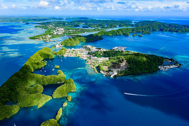 Full view of Palau Malakal Island and Koror Full view of Palau Malakal Island and Koror - World heritage site - oceania stock pictures, royalty-free photos & images