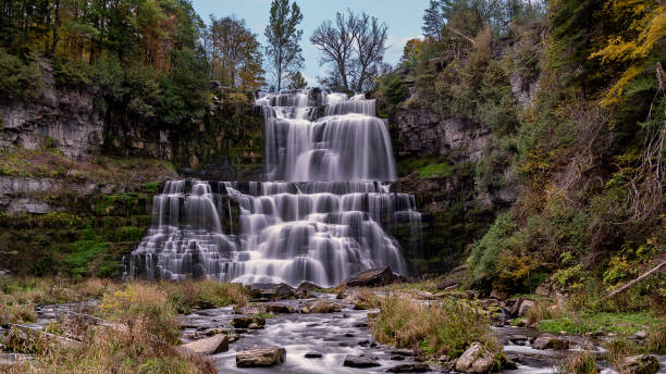 full view of the main cascade of chittenango falls - low contrast stock pictures, royalty-free photos & images