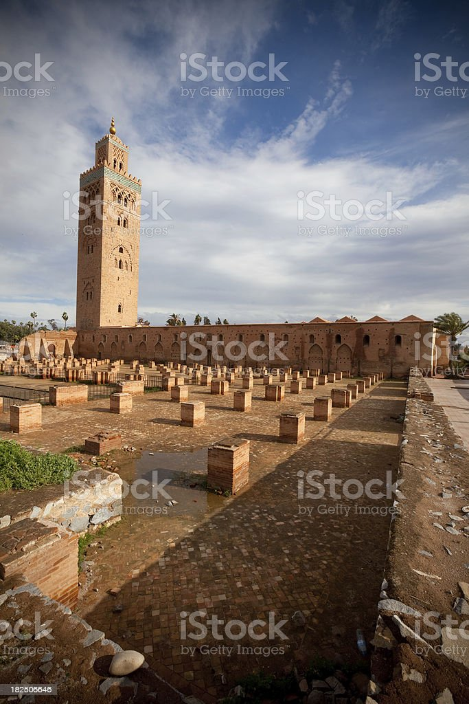 Full view of the Marrakesh Mosque stock photo