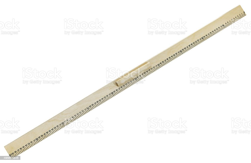 full view of wooden meter ruler stock photo