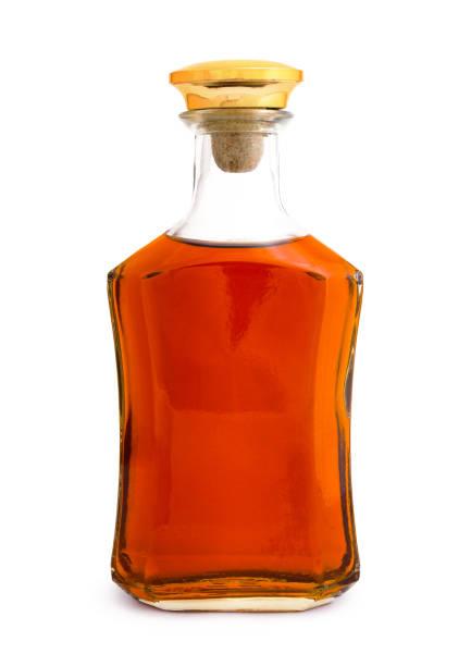 Full whiskey bottle isolated on white background stock photo