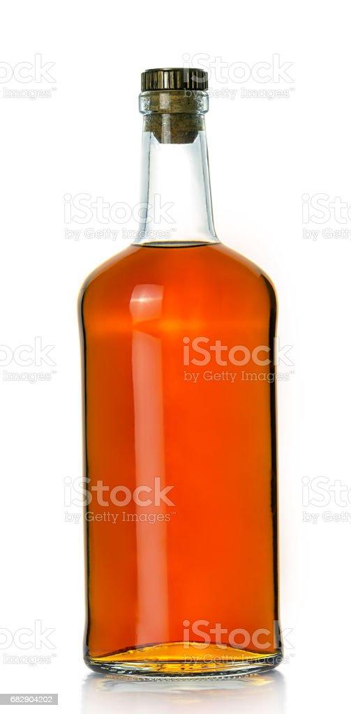 Full whiskey bottle stock photo