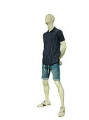 Full-length male mannequin dressed in short sleeve casual button-down shirt and jeans shorts, isolated on white background. No brand names or copyright objects.
