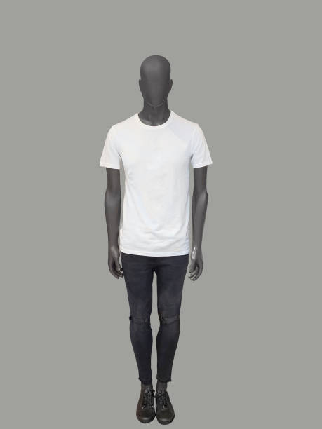 Full-length man mannequin Full-length man mannequin dressed in summer casual clothes, isolated. No brand names or copyright objects. male likeness stock pictures, royalty-free photos & images