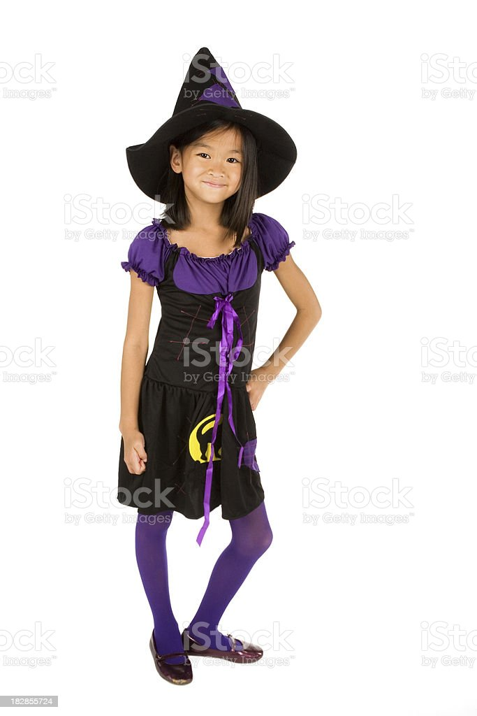 Fulllength Of Asian Girl In Witch Costume Stock Photo Download Image Now Istock