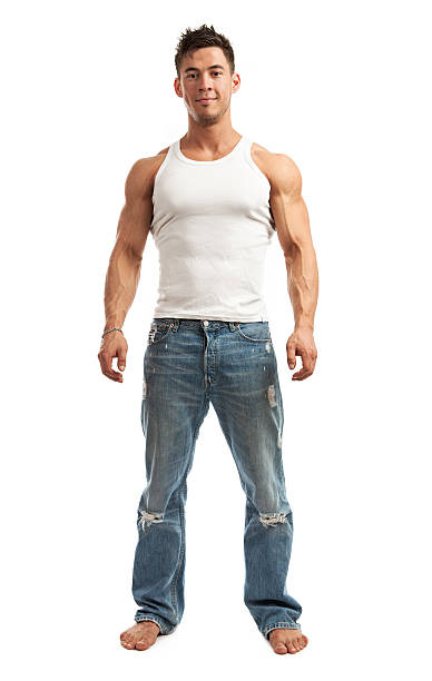 Full-length of handsome young man over white stock photo
