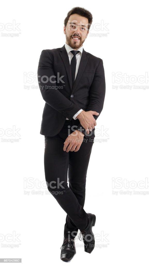 portrait en pied. Homme d'affaires. Belle et élégante personne porte habit noir.» n - Photo