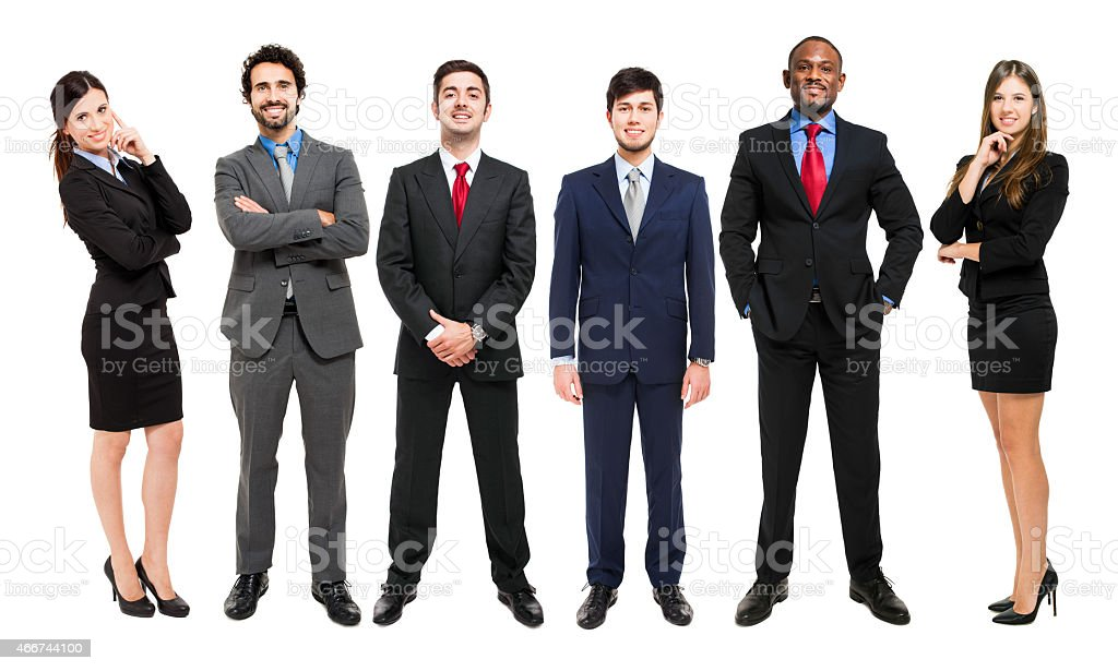 Full-length portrait group of business people, isolated. stock photo