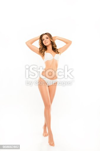 676005390istockphoto Full-length portrait of  pretty healthy slim young woman showing her white lingerie 958662852