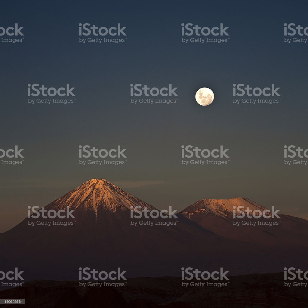 Full-moon in the Moon Valley, Atacama, Chile stock photo