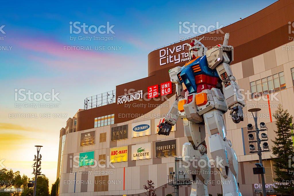 Full-size Mobile suit Gundam in Odaiba, Tokyo stock photo
