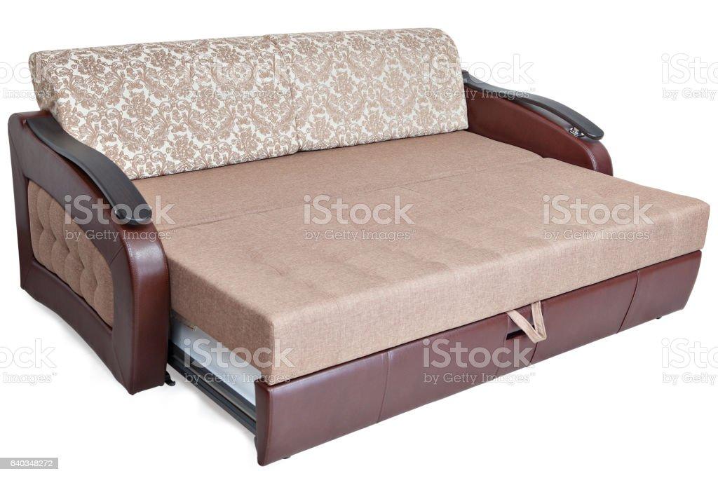 Picture of: Fullsize Pullout Sofa Sleeper Light Brown Fabric And Warehouses Isolated Foto De Stock Y Mas Banco De Imagenes De Acogedor Istock