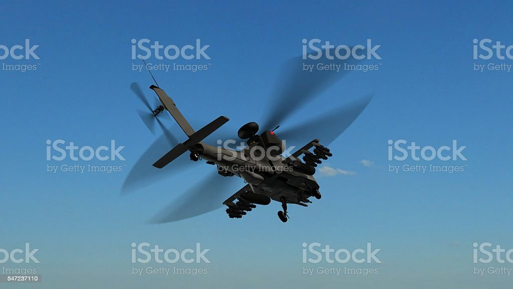 Fully armed army Apache attack helicopter in flight stock photo