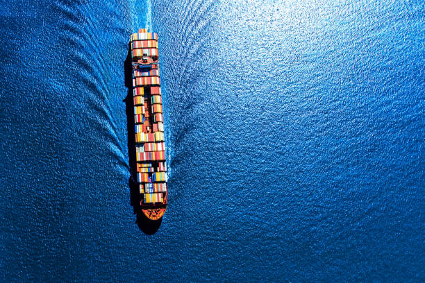 Fully Loaded Container Ship stock photo