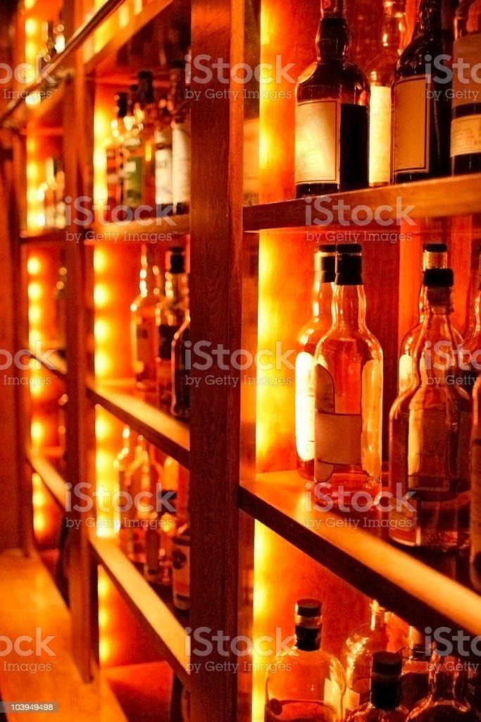 Fully Stocked Bar: Top Shelf Liquor Bottles royalty-free stock photo