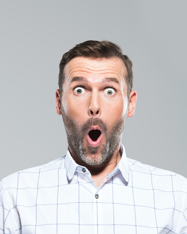 Fully Surprised Mature Man Stock Photo - Download Image Now