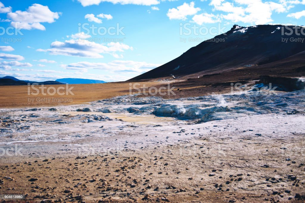 Fumarole field in Namafjall, Iceland. Geothermal beauty landscape. stock photo