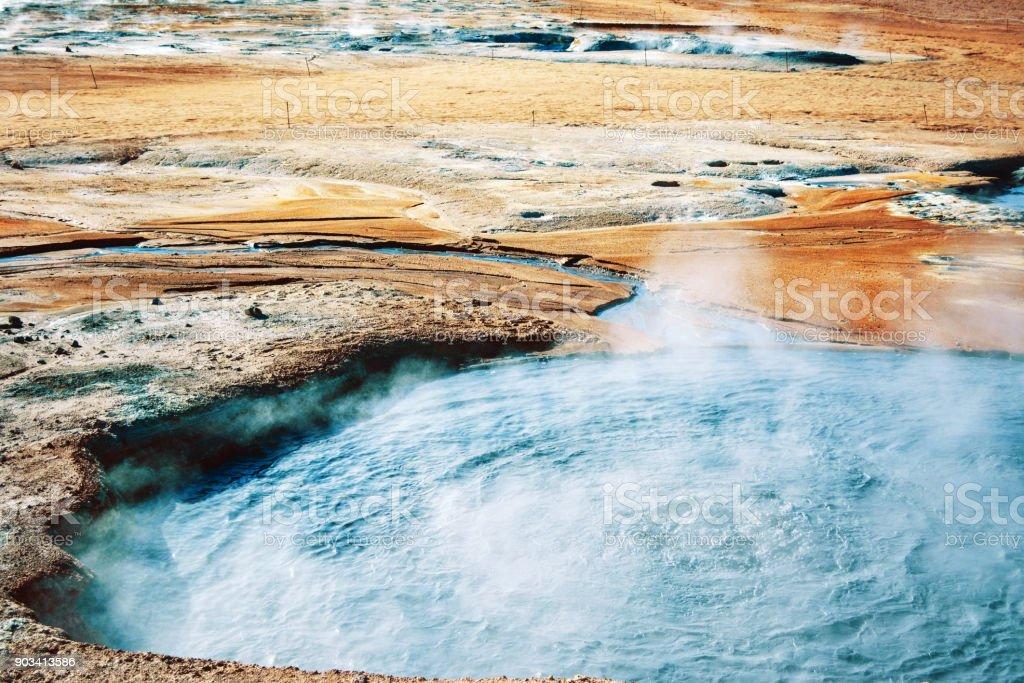 Fumarole field in Namafjall, Iceland. stock photo