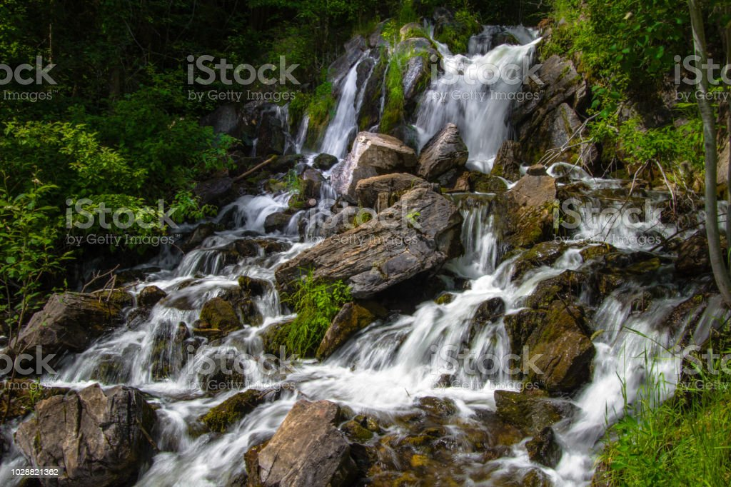 Fumee Falls Roadside Waterfall Along US 2 In The Upper Peninsula Of Michigan. stock photo