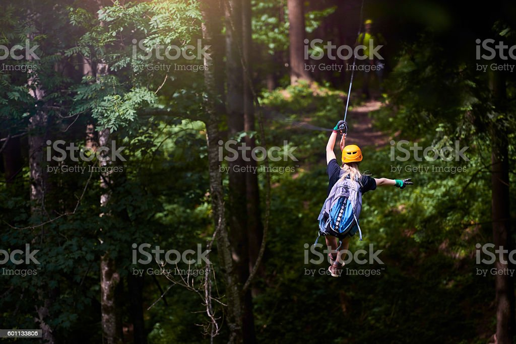 fun, adrenaline and adventure on the zip line stock photo