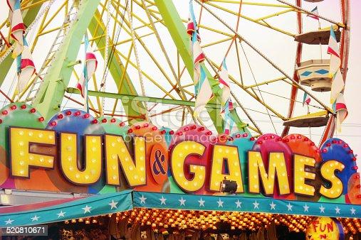 Bright, fun and games sign at a carnival.
