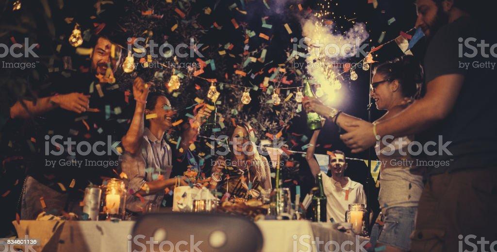 Fun at birthday party стоковое фото