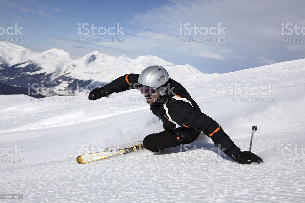 Fun at skiing stock photo
