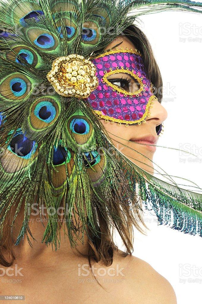 Fun Beautiful Young Woman in Mardi Gras Mask stock photo