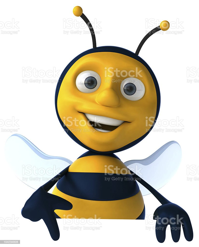 Fun bee with a blank sign stock photo