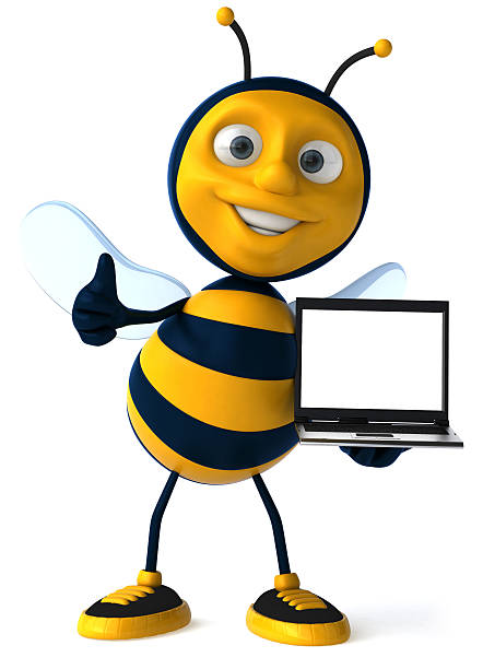 Fun bee with a laptop stock photo