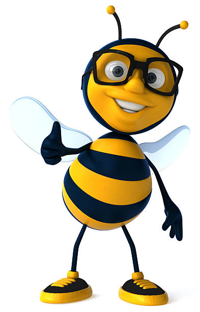 Fun bee with glasses stock photo
