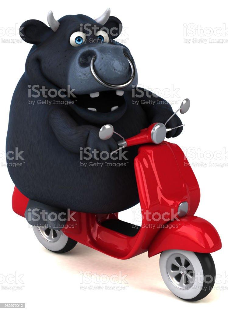 Fun black bull - 3D Illustration stock photo