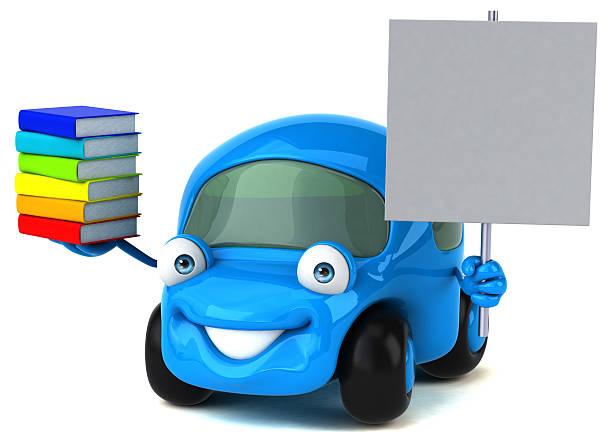 fun car - 3d illustration - schnell lesen lernen stock-fotos und bilder