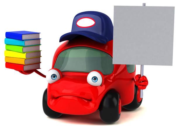 lustige auto - 3d illustration - schnell lesen lernen stock-fotos und bilder