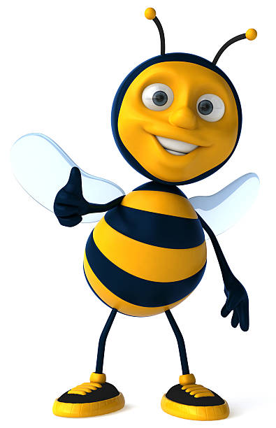 Fun cartoon bee who is happy and smiling stock photo