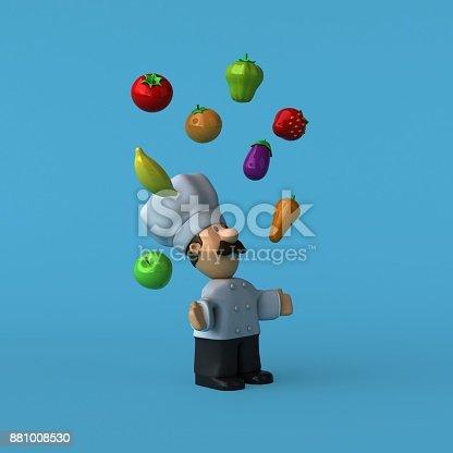 istock Fun chef - 3D Illustration 881008530