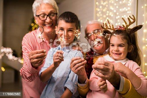 istock Fun Christmas with grandpa and grandma 1176662582