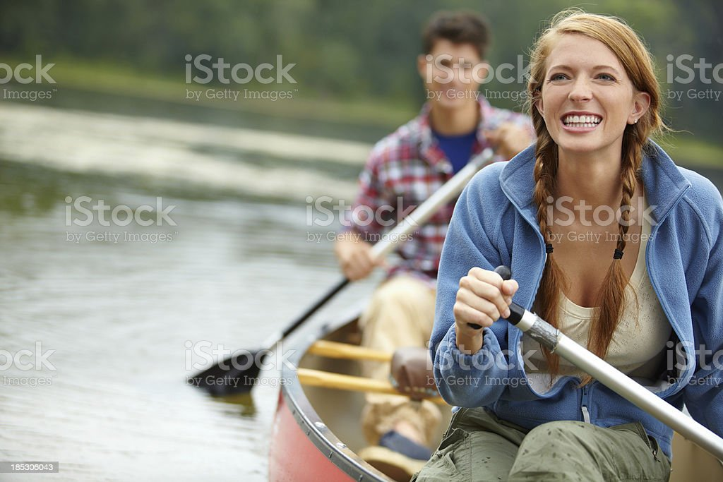 Fun day out with her boyfriend - Copyspace royalty-free stock photo