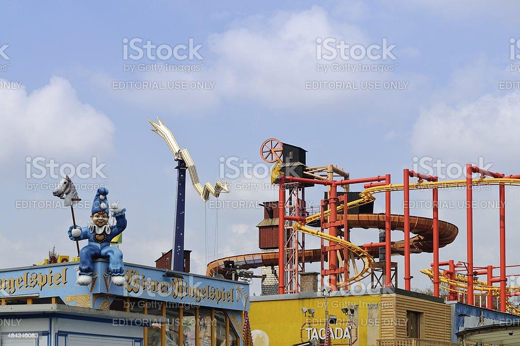 Fun fair attractions in Prater amusement park, Vienna, Austria royalty-free stock photo