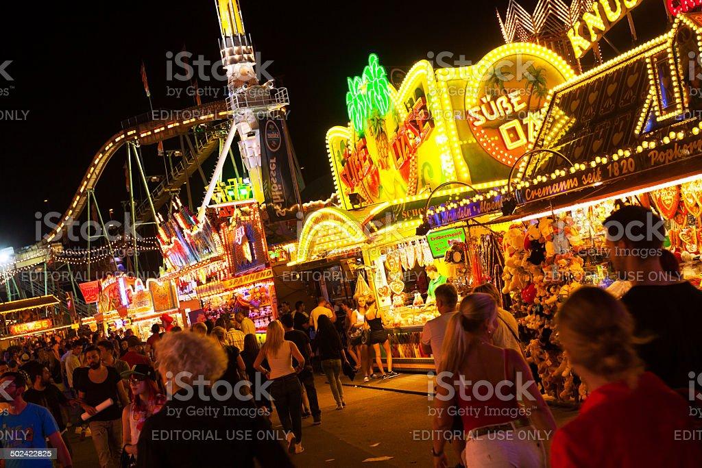 Fun fair boothes at night stock photo