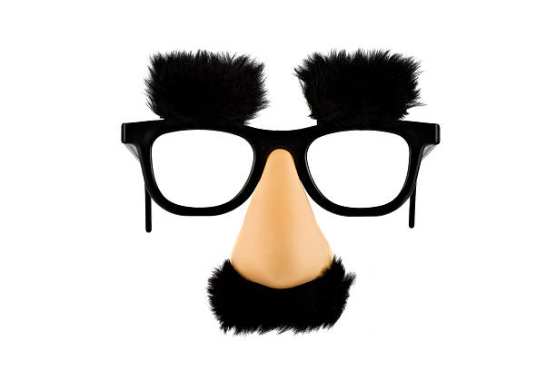 fun fake mask lisolated on white background - mask disguise stock photos and pictures