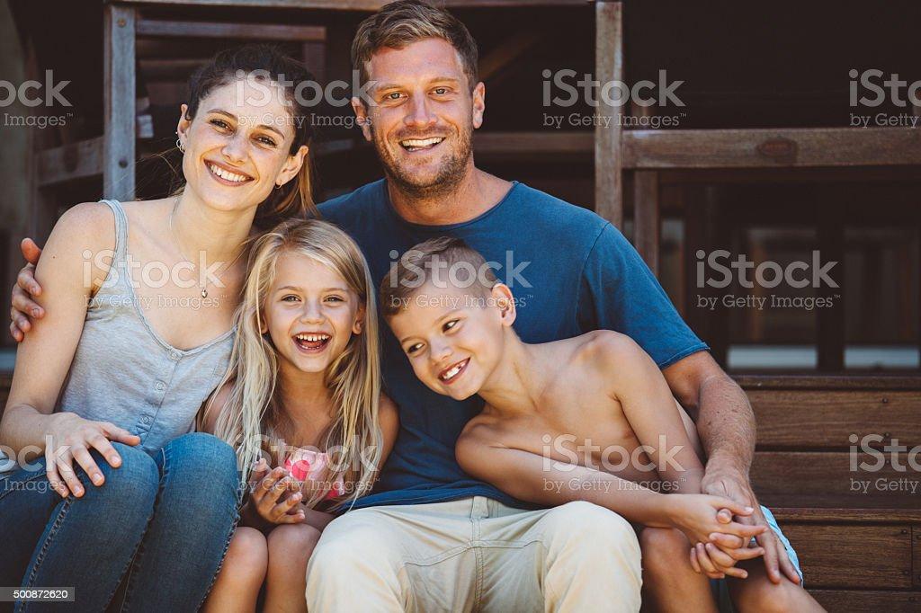 fun family portrait stock photo