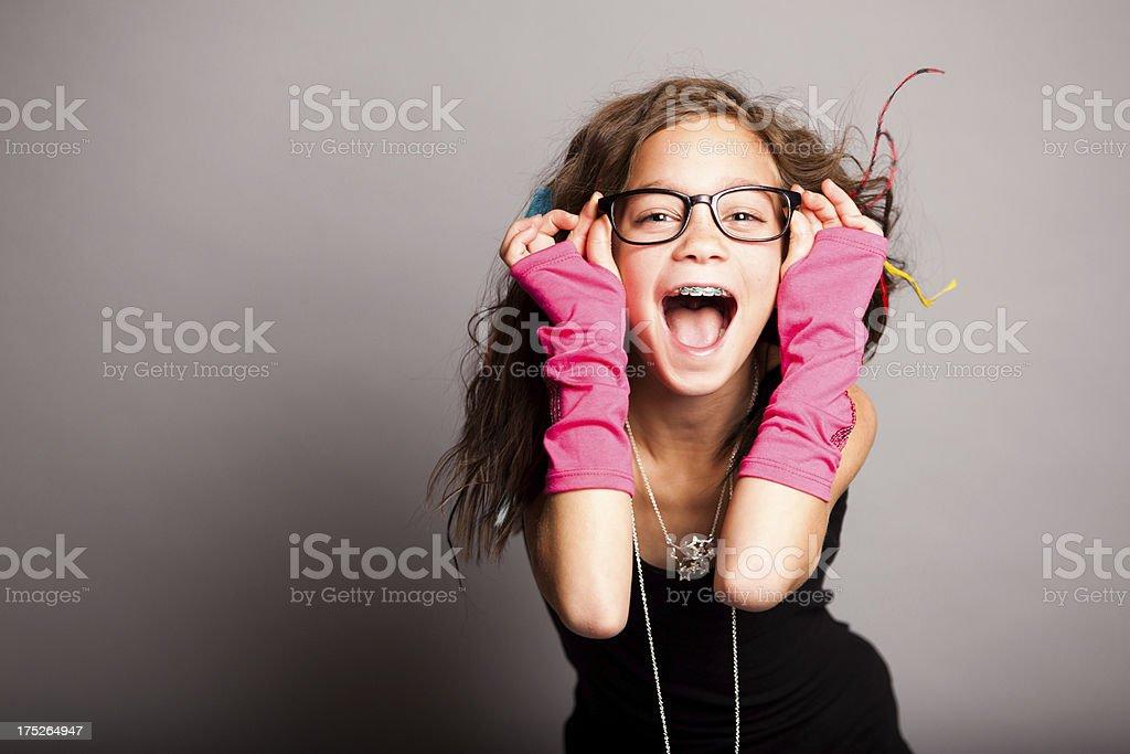 Fun Fashion Girl Looking at Camera stock photo