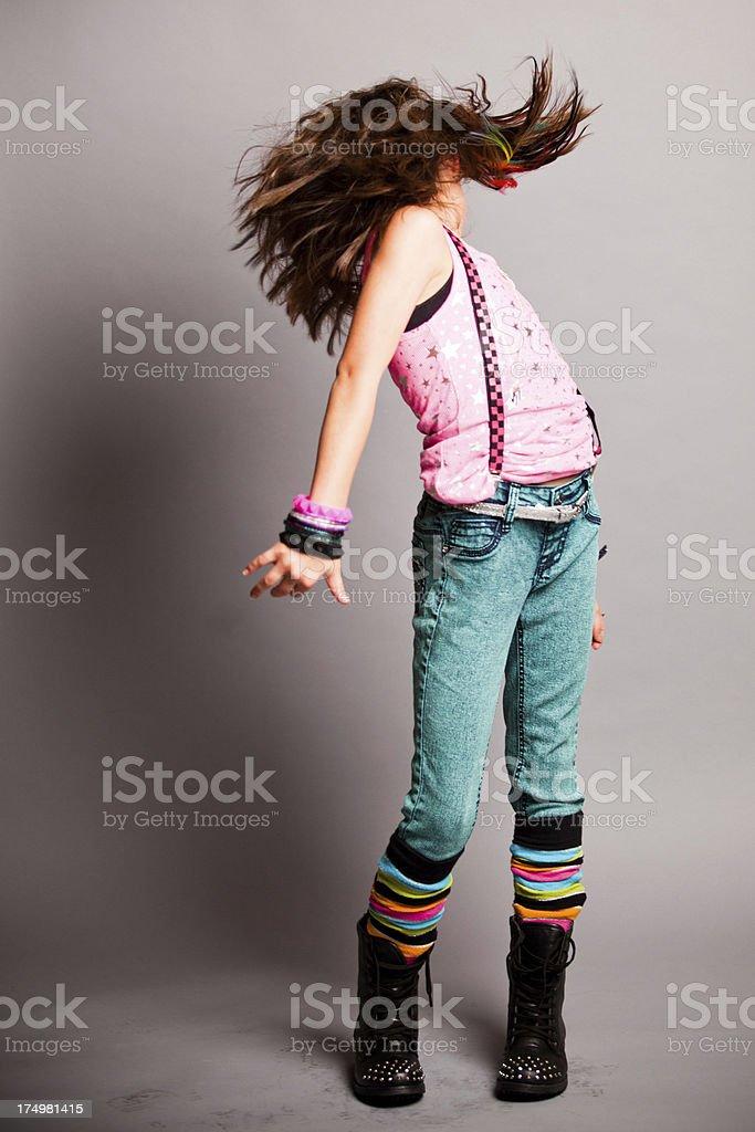 Fun Fashion Girl Whipping her Hair royalty-free stock photo
