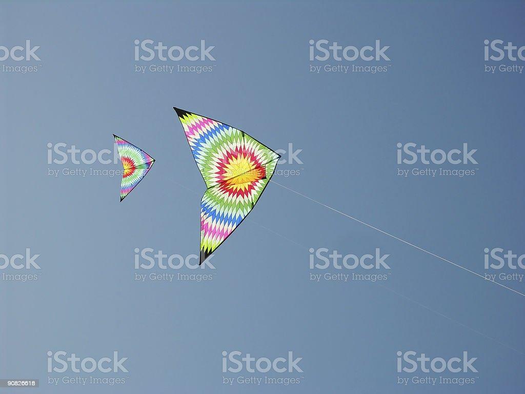 Fun Flying  Kites Sky Blue royalty-free stock photo