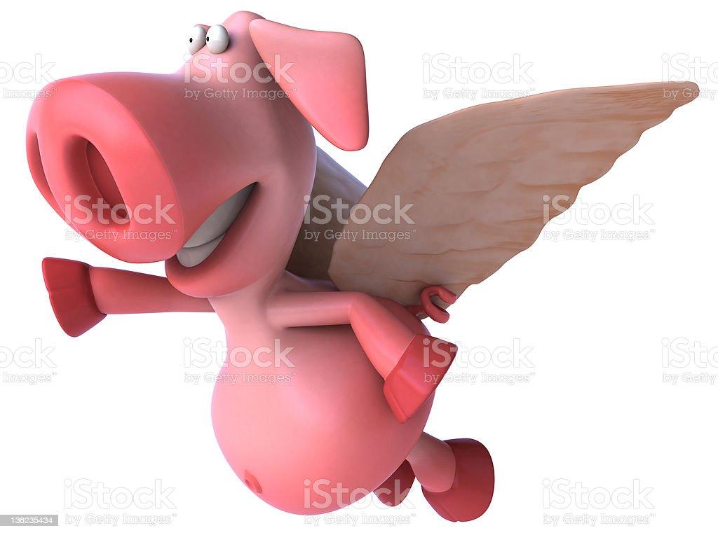 Fun flying pig stock photo