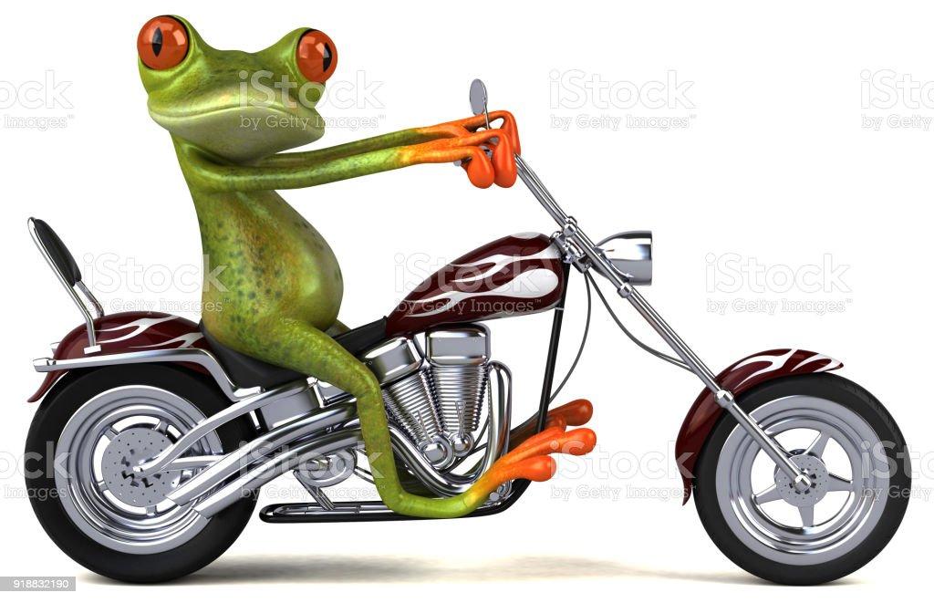 lustige frosch auf einem motorrad 3d illustration stock fotografie und mehr bilder von abenteuer. Black Bedroom Furniture Sets. Home Design Ideas