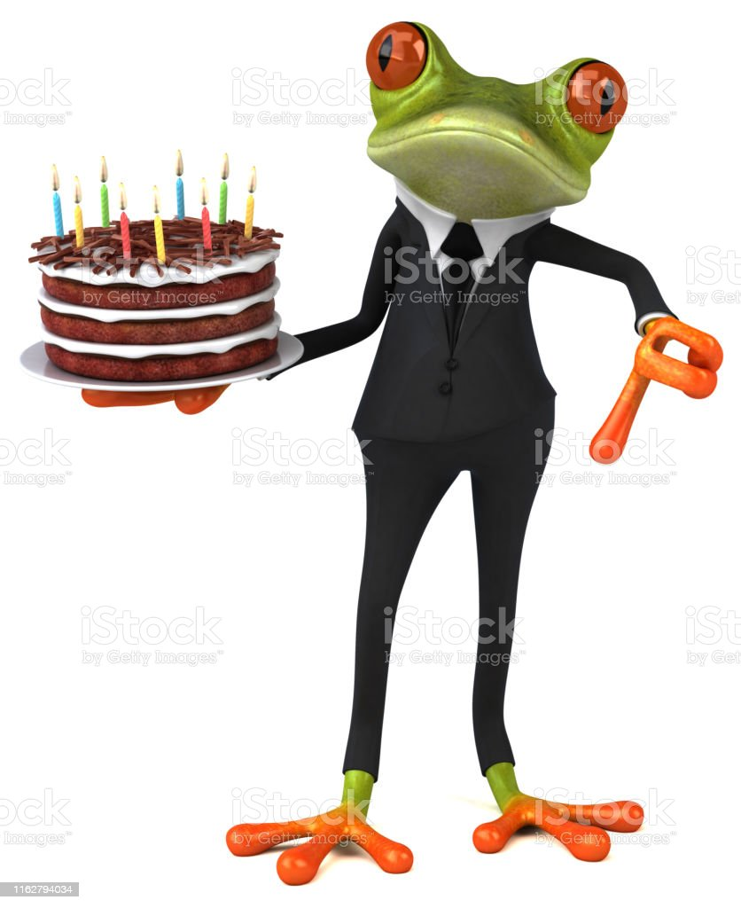 Peachy Fun Frog With A Birthday Cake 3D Illustration Stock Photo Funny Birthday Cards Online Benoljebrpdamsfinfo
