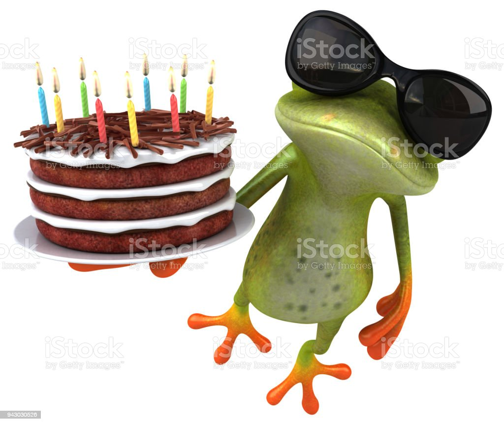 Phenomenal Fun Frog With A Birthday Cake 3D Illustration Stock Photo Funny Birthday Cards Online Necthendildamsfinfo